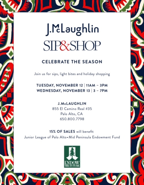 Join us Nov 12 and 13 at J.McLaughlin for shopping to benefit the League